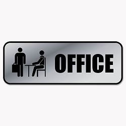 "Brushed Metal Office Sign Office 9"" x 3"" Silver (COS098209)"