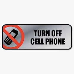"Brushed Metal Office Sign Turn Off Cell Phone 9"" x 3"" SilverRed (COS098211)"