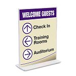 "Stand-Up Double-Sided Sign Holder Plastic 8-12"" x 11"" Clear (DEF590801)"