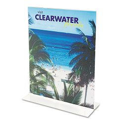 "Stand-Up Double-Sided Sign Holder Plastic 4"" x 6"" Clear (DEF69001)"