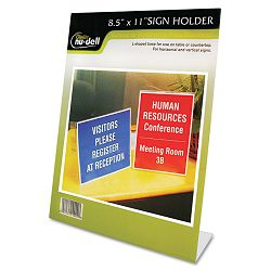 "Clear Plastic Sign Holder Stand-Up Slanted 8 12"" x 11"" (NUD35485Z)"
