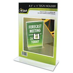 "Clear Plastic Sign Holder Stand-Up 8 12"" x 11"" (NUD38020Z)"