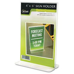 "Clear Plastic Sign Holder Free-Standing 4"" x 6"" (NUD38046Z)"