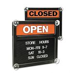 "Double-Sided OpenClosed Sign with Plastic Push Characters 14-38"" x 12-38"" (USS3727)"