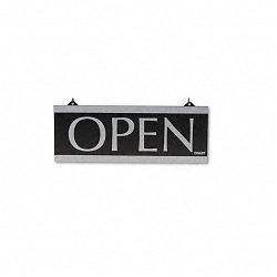 "Century Series Reversible OpenClosed Sign with Suction Mount 13"" x 5"" Black (USS4246)"