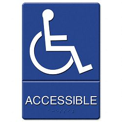 "ADA Sign Accessible (Wheelchair) Tactile SymbolBraille Molded Plastic 6"" x 9"" (USS4725)"