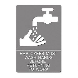 "ADA Sign ""Employees Must Wash Hands..."" Tactile SymbolBraille 6"" x 9"" Gray (USS4726)"