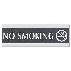"Century Series Office Sign ""No Smoking"" 9"" x 12"" x 3"" BlackSilver (USS4757)"