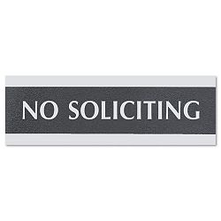 "Century Series Office Sign ""No Soliciting"" 9"" x 12"" x 3"" BlackSilver (USS4758)"