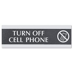 "Century Series Office Sign""Turn Off Cell Phone"" 9"" x 12"" x 3 (USS4759)"