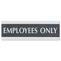 "Century Series Office Sign ""Employees Only"" 9"" x 12"" x 3"" BlackSilver (USS4760)"