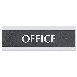 "Century Series Office Sign ""Office"" 9"" x 12"" x 3"" BlackSilver (USS4762)"