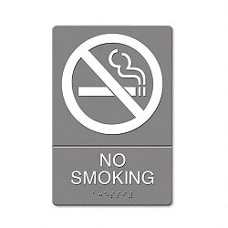 "ADA Sign No Smoking Symbol with Tactile Graphic Molded Plastic 6"" x 9"" Gray (USS4813)"