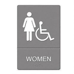 "ADA Sign Women Restroom Wheelchair Accessible Symbol Molded Plastic 6"" x 9 (USS4814)"