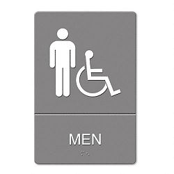"ADA Sign Men Restroom Wheelchair Accessible Symbol Molded Plastic 6"" x 9"" Gray (USS4815)"