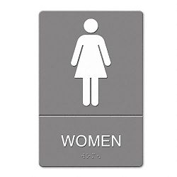 "ADA Sign Women Restroom Symbol with Tactile Graphic Molded Plastic 6"" x 9"" Gray (USS4816)"
