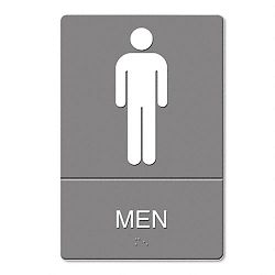 "ADA Sign Men Restroom Symbol with Tactile Graphic Molded Plastic 6"" x 9"" Gray (USS4817)"
