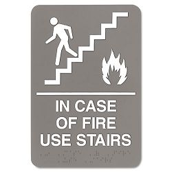 "ADA Sign 6"" x 9"" In Case of Fire Use Stairs Gray (USS5400)"