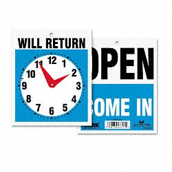 "Double-Sided OpenWill Return Sign with Clock Hands Plastic 7-12"" x 9"" (USS9382)"