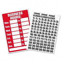 "Business Hours Sign with Vinyl Characters Poly Resin 8"" x 12"" RedWhite (USS9394)"