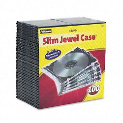 Thin Jewel Case ClearBlack Pack of 100 (FEL98335)