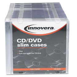 CDDVD Polystyrene Thin Line Storage Case Clear Pack of 100 (IVR85800)