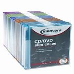 CDDVD Polystyrene Thin Line Storage Case Assorted Colors Pack of 50 (IVR85850)