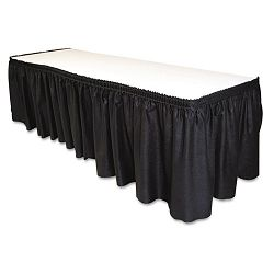 "Table Set Linen-Like Table Skirting 29"" x 14' Black (TBLLS2914BK)"