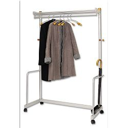 One-Shelf Coat Rack with Umbrella Holder Chrome Metallic Gray (ABAPMLUXWL6)