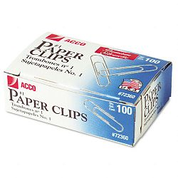 Smooth Finish Premium Paper Clips Wire No. 1 Silver Box of 100 10 BoxesPack (ACC72360)