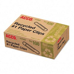 Recycled Paper Clips No. 1 Size Box of 100 10 BoxesPack (ACC72365)