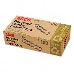 Recycled Paper Clips Jumbo Box of 100 10 BoxesPack (ACC72525)