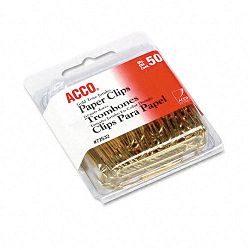 "Paper Clips Wire Jumbo 1-34"" Gold Tone Box of 50 (ACC72532)"