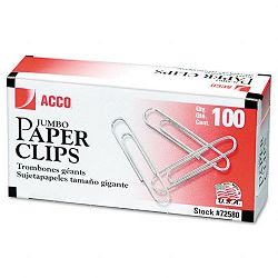 Smooth Economy Paper Clip Steel Wire Jumbo Silver Box of 100 10 BoxesPack (ACC72580)