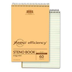 "Spiral Steno Book Gregg Rule 6"" x 9"" Green Tint 60 Sheets (AMP25270)"