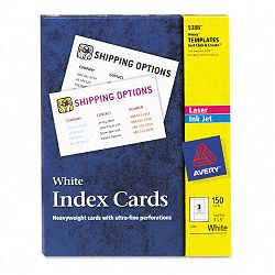 "LaserInkjet Unruled Index Cards 3"" x 5"" White Box of 150 (AVE5388)"
