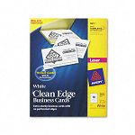 "Clean Edge Laser Business Cards 2"" x 3 12"" White 10Sheet Pack of 200 (AVE5871)"