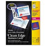 "Two-Side Clean Edge Laser Business Cards 2"" x 3 12"" White Pack of 1000 (AVE5874)"