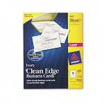"Clean Edge Laser Business Cards 2"" x 3 12"" Ivory 10Sheet Pack of 200 (AVE5876)"
