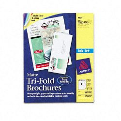 "Brochure Paper Matte 8-12"" x 11"" White 100 SheetsBox (AVE8324)"