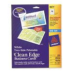 "Inkjet Matte Business Cards 2"" x 3 12"" White 10Sheet Pack of 200 (AVE8871)"