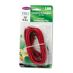 CAT5e 10100 Base-T RJ45 Patch Cable Snagless 14 ft. Red (BLKA3L79114REDS)