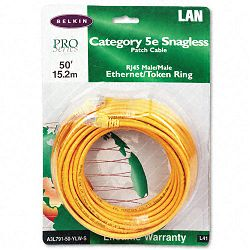 CAT5e Snagless Patch Cable RJ45 Connectors 50 ft. Yellow (BLKA3L79150YLWS)