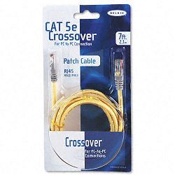 CAT5e Crossover Patch Cable RJ45 Connectors 7 ft. Yellow (BLKA3X12607YLWM)