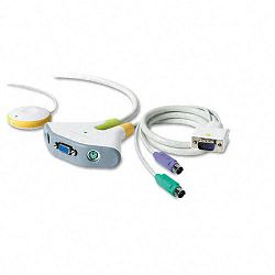 Two-Port KVM PS2 Switch with Built-In Cables 8-ft. (BLKF1DF102P)