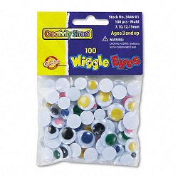 Wiggle Eyes Assortment Assorted Sizes Assorted Colors Pack of 100 (CKC344601)