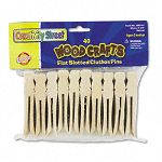 Flat Wood Slotted Clothespins 3 34 Length 40 ClothespinsPack (CKC368501)