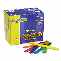 "Colored Wood Craft Sticks Jumbo 4 12"" x 38"" Wood Assorted Box of 500 (CKC377602)"