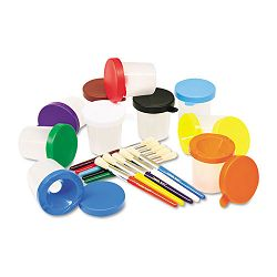 No-Spill Cups & Coordinating Brushes Assorted Colors Pack of 10 (CKC5104)
