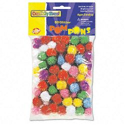 "Glitter Pompons 12"" Multicolored Glitter Poms Assorted Colors Pack of 80 (CKC8116)"